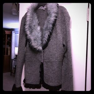 Gray and Black ladies fur collared jacket